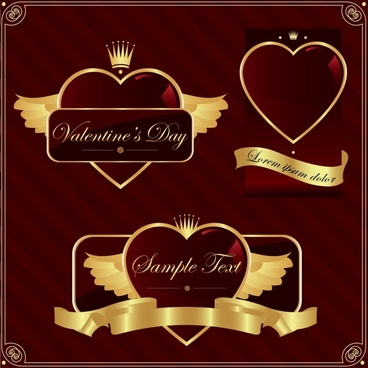 valentines decor elements elegant wings crown heart decor