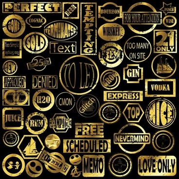 seal templates collection golden retro design text ornament