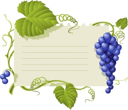 grapes laves border template modern colored design