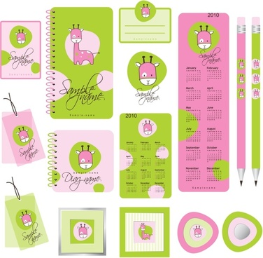 stationeries identification sets giraffe icon green purple decor