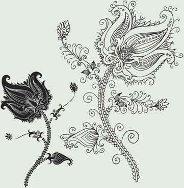 vector graphic flower ornaments pattern