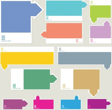 bookmarks templates colored flat arrow decor