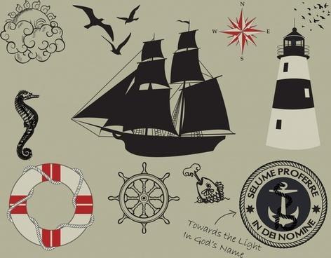 maritime design elements flat symbols retro dark decor