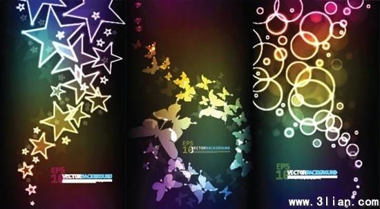 decorative background templates sparkling stars butterflies bubbles decor