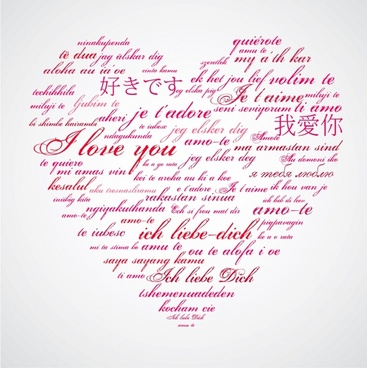 love background multilanguages sketch calligraphic decor heart layout