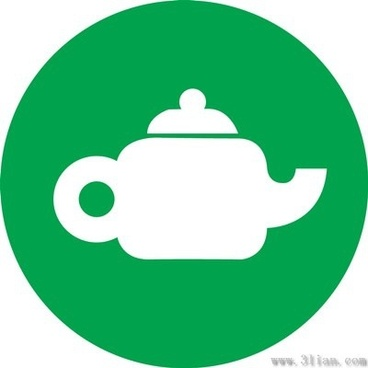 vector green background teapot icon
