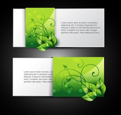 card templates modern shiny green leaves decor