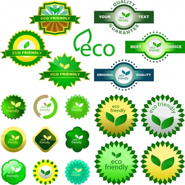 ecology labels templates collection modern shiny green shapes