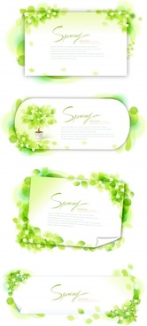 decorated leaves border templates modern blurred green decor