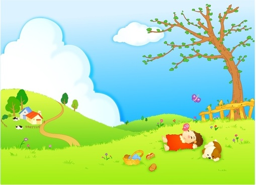 childhood background relaxed kid hill icons cartoon design