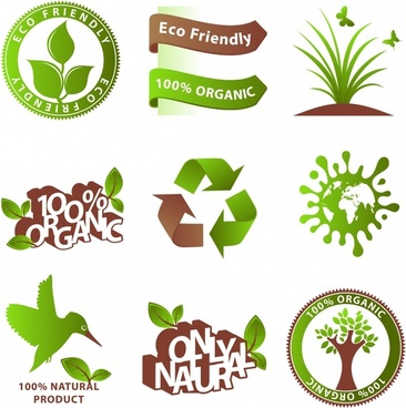 ecology icons templates green brown environment elements decor