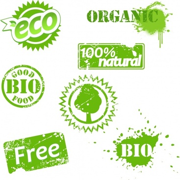 organic stamp templates green decor grunge retro design