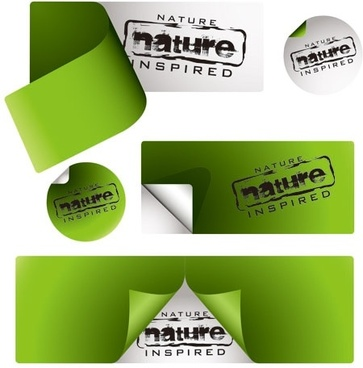 vector green stickers