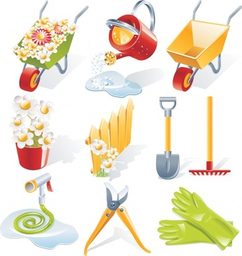 gardening work design elements modern colored 3d icons