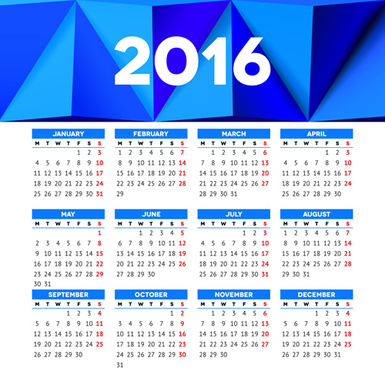 vector grid calendar16 design