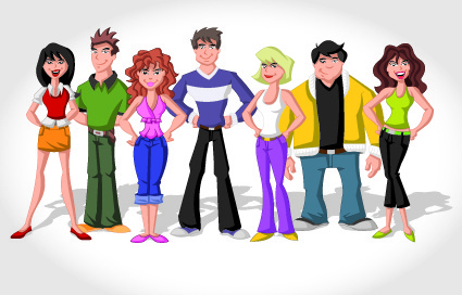 vector group of people set
