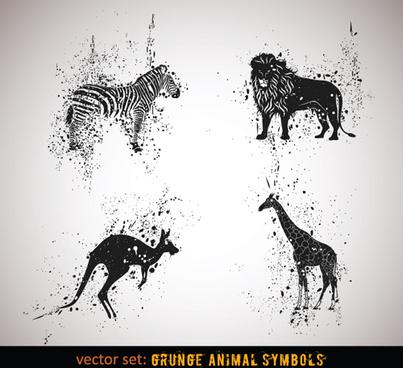vector grungy animals symbols set