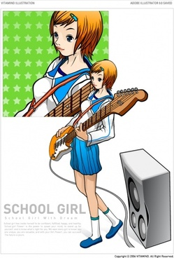 vector guitar female students