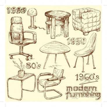 furniture icons templates 3d handdrawn sketch
