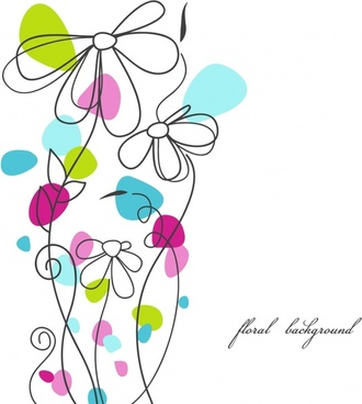 floral background template colorful flat handdrawn outline