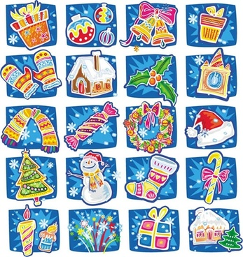 christmas design elements colorful handdrawn symbols
