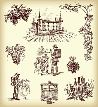 grape wine production elements retro handdrawn symbols