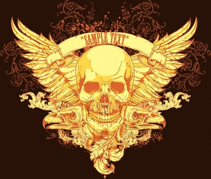 rebel elements golden skull wings sketch horror classic