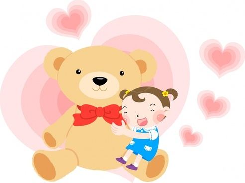 baby background joyful girl teddy bear icons