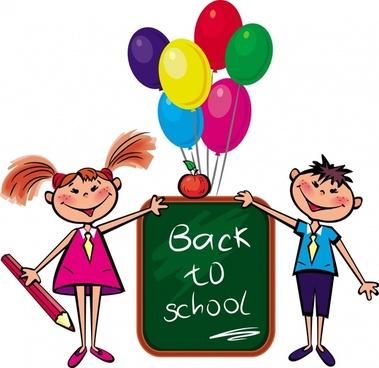 back to school banner schoolboy schoolgirl balloon icons