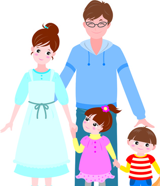 vector happy family together design elements