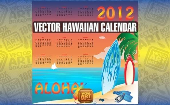 Vector Hawaiian Calendar