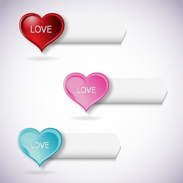 Vector heart banners