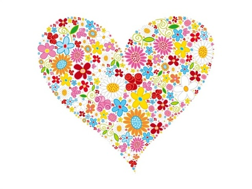 heart shape vector illustration with flowers design