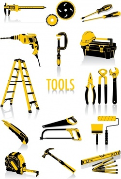 hand tools icons yellow black sketch modern design