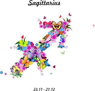 vector horoscope flower set