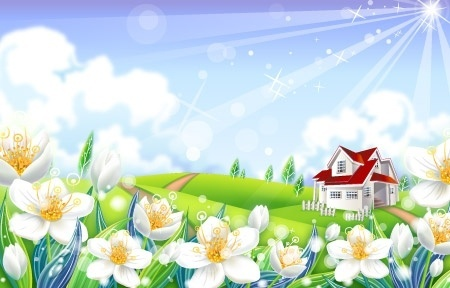 landscape background sparkling sunshine design white flowers decoration