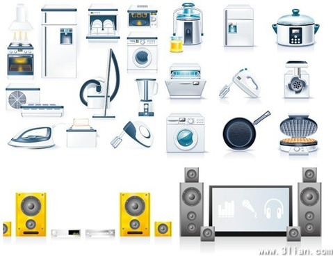 household icons shiny modern design