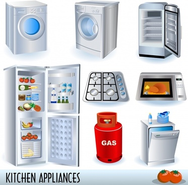 household appliances icons 3d modern design