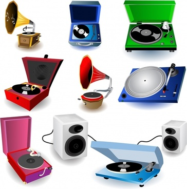 music playing instrument icons colored 3d design