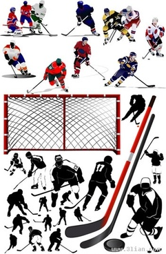 hockey sport icons players tools goal sketch
