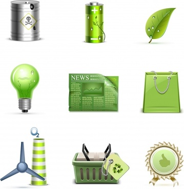 ecological icons shiny modern 3d symbols