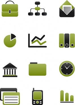 business icons flat green black emblems