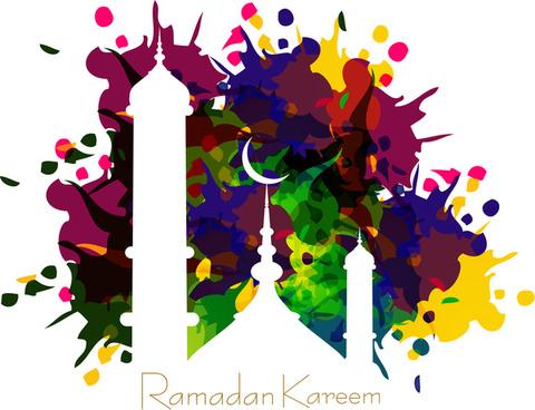vector illustration arabic islamic calligraphy colorful text ramadan kareem design