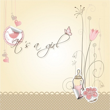baby shower background cute handdrawn flora feeder sketch