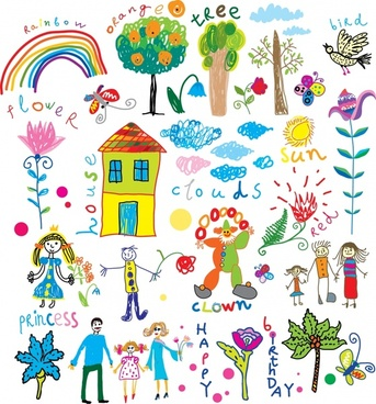 childhood card design elements colorful handdrawn sketch