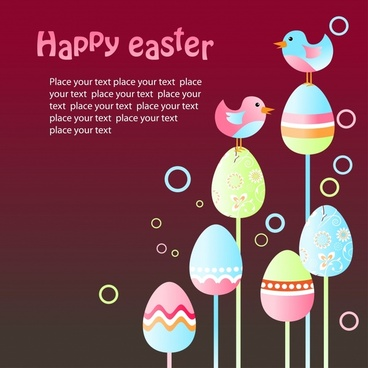 easter banner colorful eggs birds decor modern design