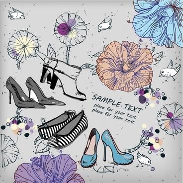 shoes fashion background petals sketch retro handdrawn design
