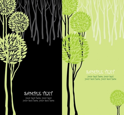 vector illustration green trees