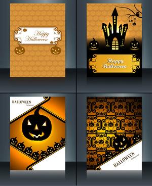 vector illustration happy halloween four brochure collection design