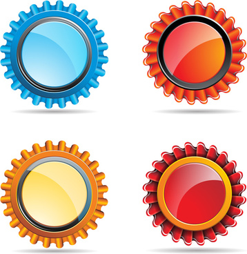 vector illustration of colorful glossy buttons